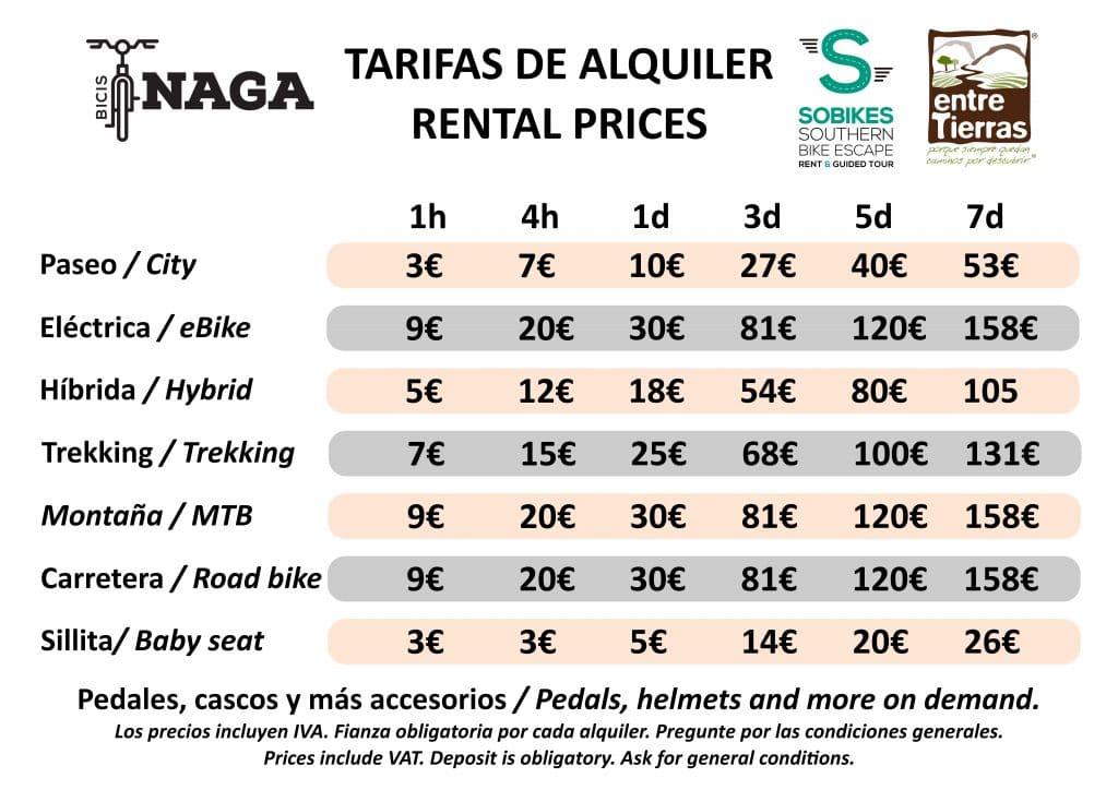 Tarifas de alquiler / rental prices